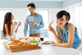 Home Party. Friends Having Dinner Indoors, Eating Fast Food. Cel Royalty Free Stock Photo