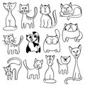 Home pets, cute cats in doodle vector style