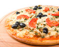 Home pizza with tomato and eggplant  Closeup . Royalty Free Stock Image