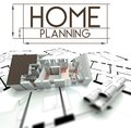 Home planning sign with project of house
