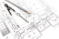 Home plans and compass house building construction with pencil drawing Stock Photos