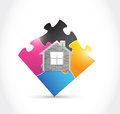 Home and puzzle illustration design over a white background Stock Image