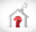 Home and question mark illustration design over a white background Stock Image