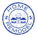 Home remodel stamp. House repair company logo on grunge background