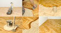 Home renovation parquet varnishing of oak floor in or office Stock Image