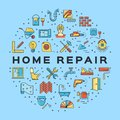 Home Repair circle infographics Construction icon. House remodel thin line art icons. Vector Royalty Free Stock Photo