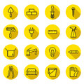 Home repair and construction flat (black and yellow) vector icons set with shadows. Minimalistic design. Royalty Free Stock Photo