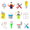 Home repair icons flat set with working instruments