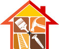 Home repair logo illustration art of a with isolated background Royalty Free Stock Photo
