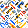 Home repair tools icons working construction equipment seamless pattern background vector illustration.