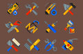 Home repair tools icons working construction equipment set and service worker macter box flat style on white