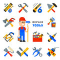 Home repair tools icons working construction equipment set and service worker macter man character flat style isolated