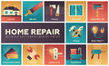 Home repair - vector modern flat design icons set Royalty Free Stock Photo
