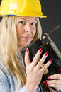 Home repair woman contractor Royalty Free Stock Photo