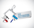 Home restoration sign and tools illustration design over a white background Stock Photography