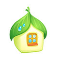 Home with roof made from leaves vector eps Stock Image