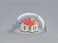 Home safety. House under glass dome Royalty Free Stock Photo