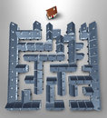 Home search and solutions as a real estate concept with a maze or labyrinth made of a group of grey homes and a perfect family Stock Image