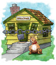 Home security cartoon illustration of dog guarding locked house Royalty Free Stock Photography