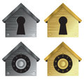 Home security icons with combination locks and keyholes in metallic colors Royalty Free Stock Photos