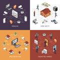 Home Security 4 Isometric Icons Square Royalty Free Stock Photo