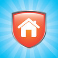 Home shield over blue background vector illustration Stock Photo