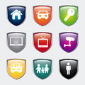 Home shields over gray background illustration Royalty Free Stock Photos