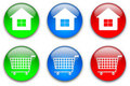Home and shopping cart buttons set Royalty Free Stock Images