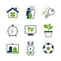 Home simple vector icon set house family key clock tv plant photography toy and ball Royalty Free Stock Photography