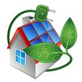 Home and solar panels on the roof