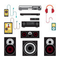 Home sound system. Home stereo flat vector illustration Royalty Free Stock Photo