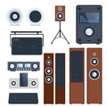 Home sound system stereo flat vector music loudspeakers player subwoofer equipment technology.