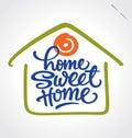 """""""home söt home"""" handbokstäver (vektorn) Arkivbilder"""