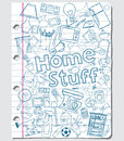 Home stuff doodles on a paper sheet Royalty Free Stock Photography