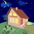 Home on a summer night small Stock Photo