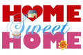Home sweet home alphabet letters with house cupcake and flower on white background illustration Stock Photos