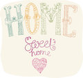 Home sweet home beautiful text illustration with flowers hand lettering Royalty Free Stock Photos
