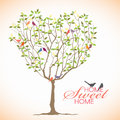 Home sweet Home - Bird and Heart tree vector design Royalty Free Stock Photo
