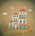 Home sweet home cartoon houses postcard country cottage on vintage background hand lettering illustration Stock Photos
