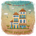 Home sweet home cartoon houses postcard country cottage on vintage background hand lettering illustration Royalty Free Stock Photo