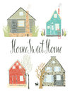 Home sweet home design card Stock Image