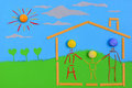 Home sweet home figurative family mother father and children on a house on a sunny day Royalty Free Stock Photo