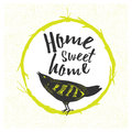 Home sweet home, hand drawn poster. Royalty Free Stock Photo