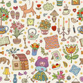 Home sweet home. Seamless vector pattern with home interior doodles. Royalty Free Stock Photo
