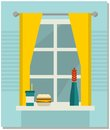 Home sweet home vector illustration with window view and food Royalty Free Stock Images