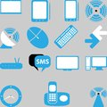 Home technology the icons set stylized in blue colour with electronics Royalty Free Stock Images