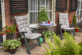 Home terrace with table and chairs Royalty Free Stock Photo