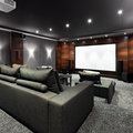 Home theater interior of luxury Stock Images