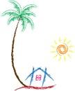 Home tree sun Royalty Free Stock Photo