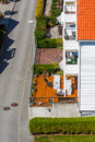 Home veranda aerial view of typical scandinavian street with houses detailed view of Stock Images